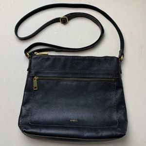 Fossil Evie Cow Hide Leather Crossbody Bag Black